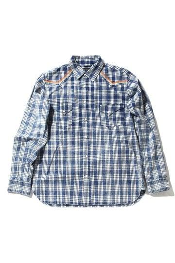 メンズインディゴチェックシャツ