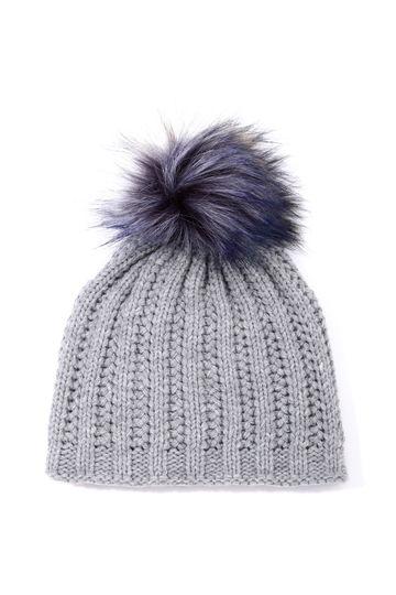ファーポンポンニット帽