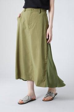 異素材切り替えフレアスカート
