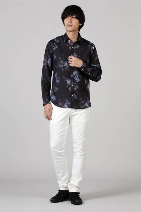 BLUE TORNADO∴ダークフラワー長袖シャツ