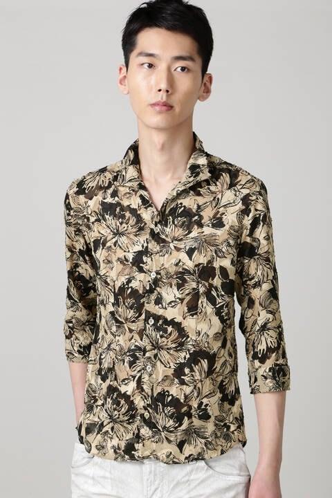 TORNADO MART∴シースルーフラワープリント7分袖シャツ