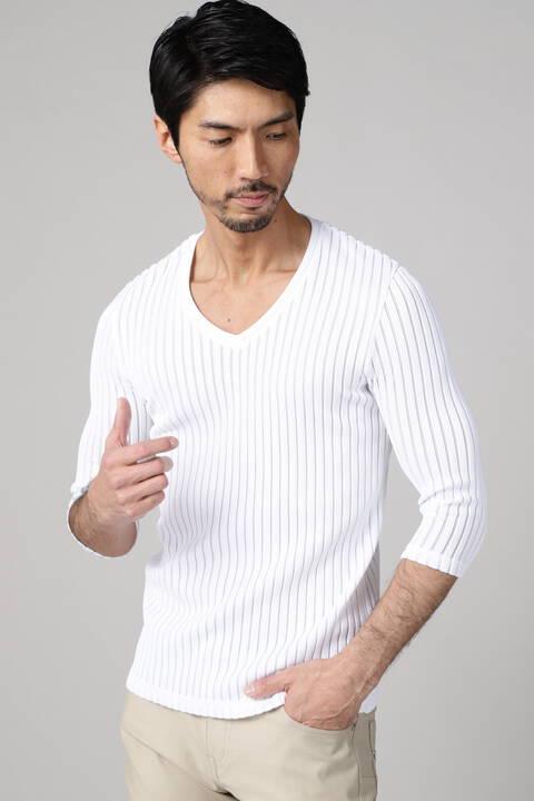 TORNADO MART∴ワイドストライプ7分袖カットソー