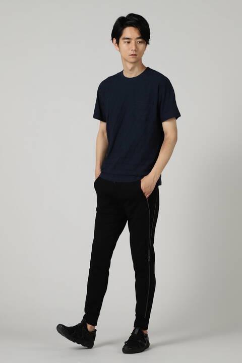 BLUE TORNADO∴ダイヤ柄ジャガード半袖クルーネック