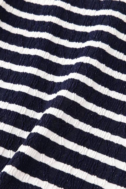 BLUE TORNADO∴ケーブルジャガードボーダー半袖クルーネック