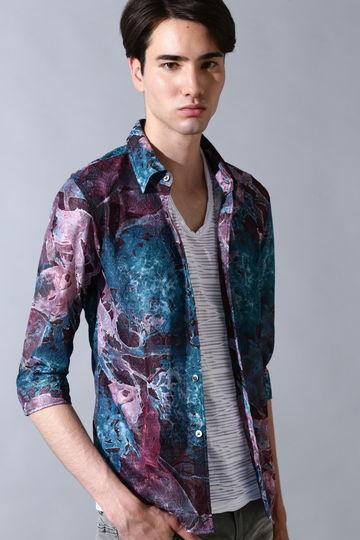 TORNADO MART∴フラワープリントレースボンディング 7分袖シャツ