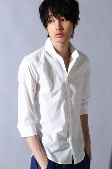 BLUE TORNADO∴バチストドット7分袖シャツ