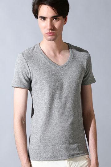 スパイラルヤーンパイル VネックTシャツ