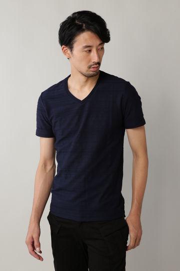 BLUE TORNADO: タックボーダージャガードVネック半袖Tee