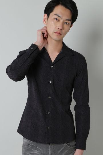 TORNADO MART∴クロコプリントサッカー長袖シャツ