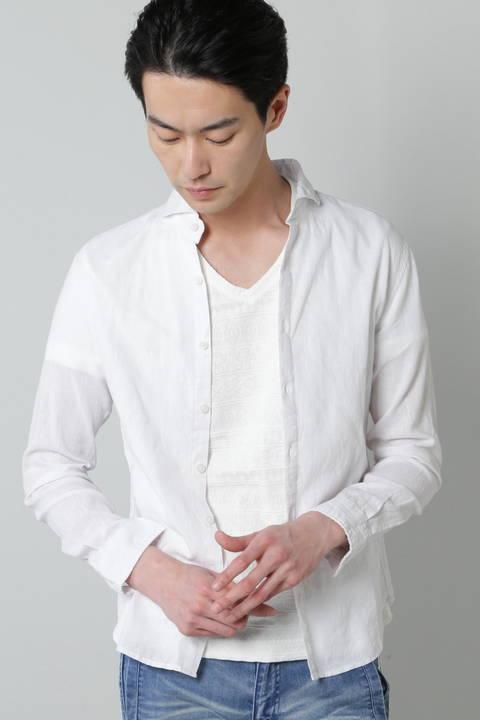 BLUE TORNADO∴2色ハケ目カッタウェイシャツ