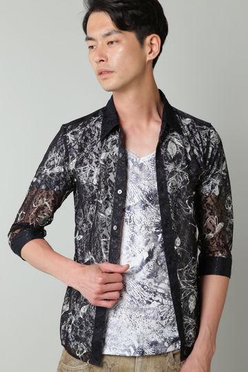TORNADO MART∴フラワープリントレース7分袖シャツ