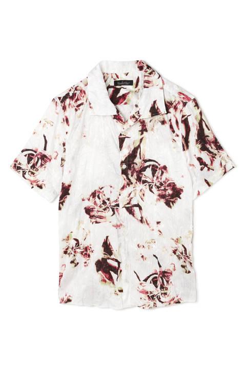 TORNADO MART∴オーキッドプリント半袖クラッシュプリーツシャツ