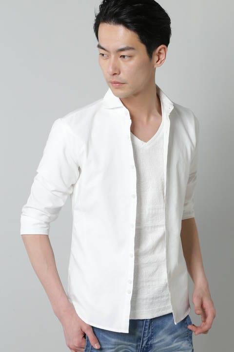 BLUE TORNADO∴COOLMAX+汗染み防止加工 カッタウェイ7分袖シャツ
