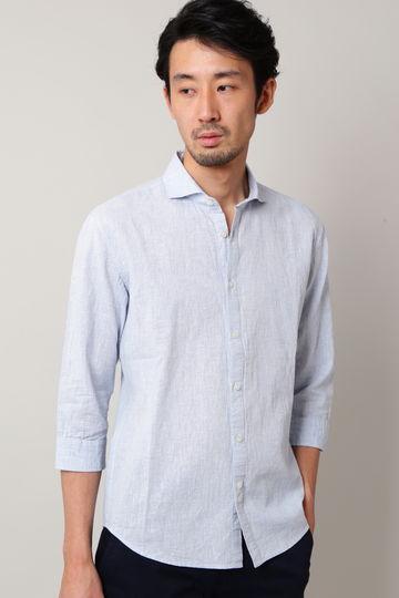 【映画着用商品】BLUE TORNADO∴2色ハケ目カッタウェイ7分袖シャツ