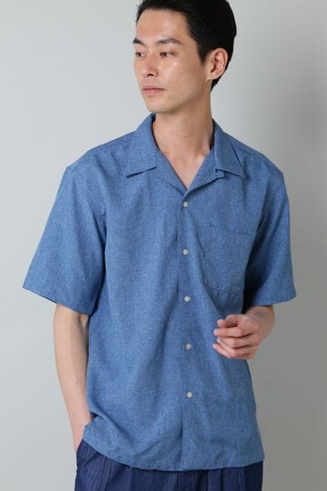 BLUE TORNADO∴トロワッシャーオープンカラー半袖シャツ