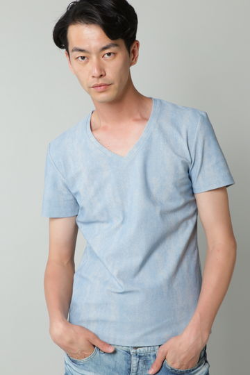 TORNADO MART∴ハーフデニムプリントハイテンション半袖カットソー