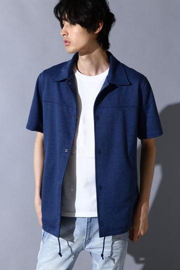 BLUE TORNADO∴メランジカノコ胸切替半袖コーチジャケット