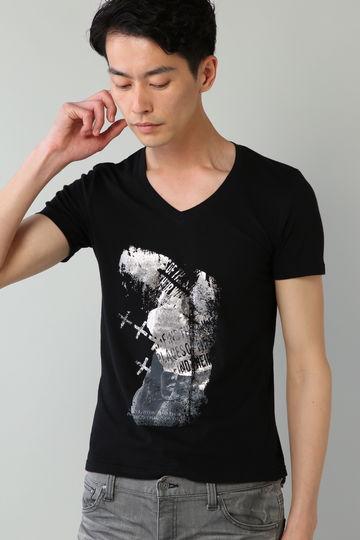 TORNADO MART∴フォトコラージュ箔プリントTシャツ