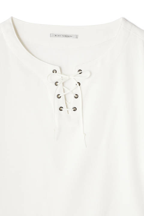 BLUE TORNADO∴T/Rジョーゼットレースアップ半袖プルオーバーシャツ