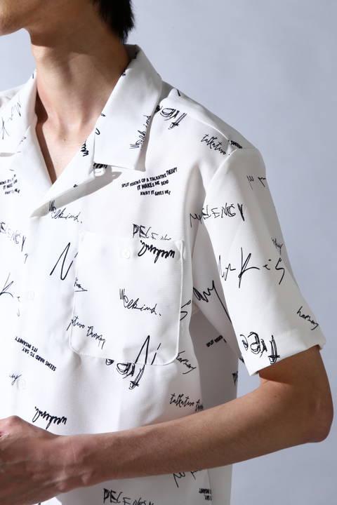 BLUE TORNADO∴ロゴプリントオープンカラー半袖シャツ