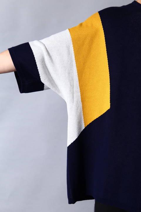 【三浦翔平さん着用】BLUE TORNADO∴ハーフミラノ配色切替ドルマンニット