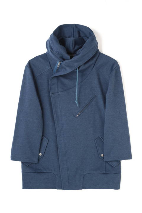 BLUE TORNADO∴メランジカノコ7分袖Bigフードブルゾン