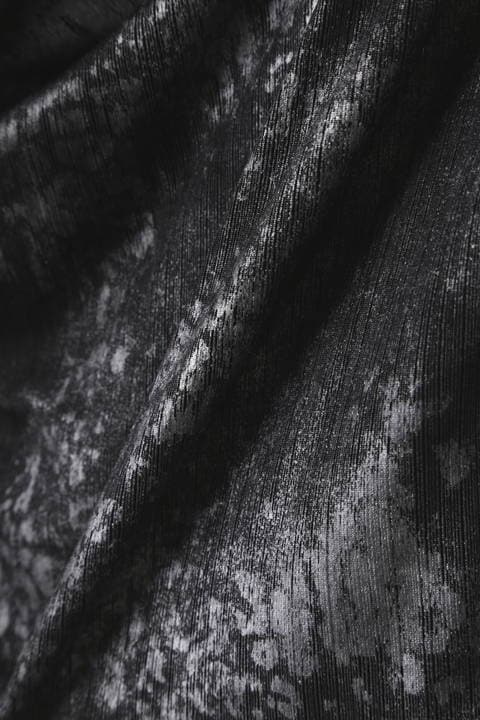 【LADIES'】TORNADO MART ∴針抜きテレコクロコフォイルドレープカットソー