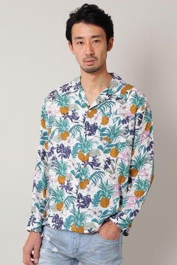 BLUE TORNADO∴パイナップル柄オープンカラーシャツ