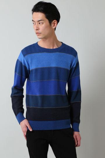 BLUE TORNADO∴編み替えボーダーマルチカラークルーネックニット