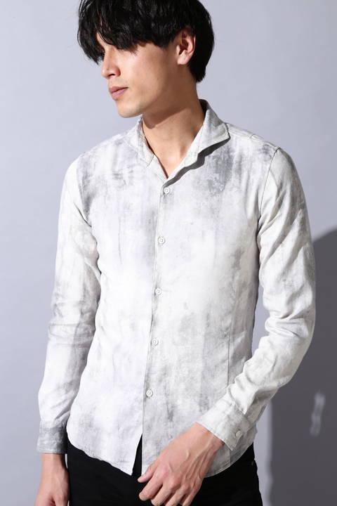 【SWITCH掲載】TORNADO MART∴麻ストレッチムラプリントシャツ