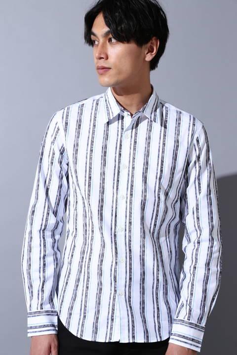 ZERO by TORNADO MART∴先染めムラストライプジャカードシャツ
