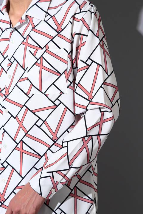BLUE TORNADO∴幾何学柄オープンカラー長袖シャツ