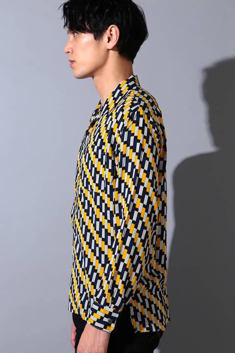 BLUE TORNADO∴バイアス幾何学柄オープンカラー長袖シャツ
