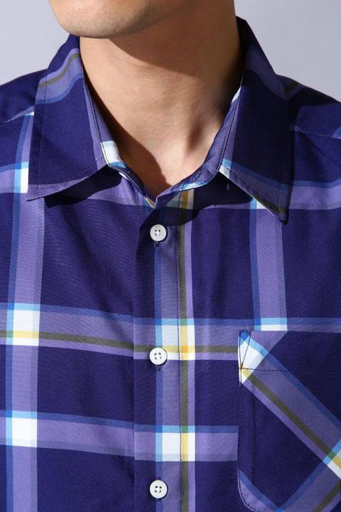 BLUE TORNADO∴チェックプリントレギュラー長袖シャツ