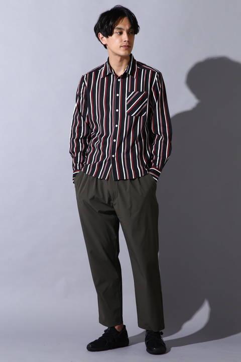 BLUE TORNADO∴ストライププリントレギュラー長袖シャツ