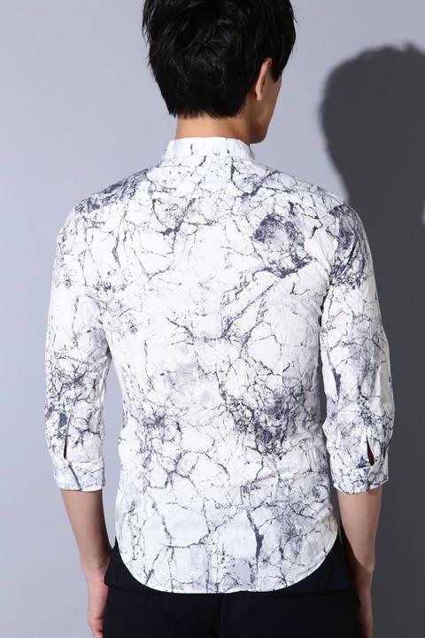 TORNADO MART∴クラックスカルプリント7分袖シャツ