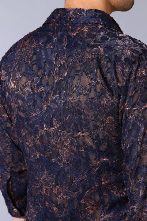 TORNADO MART∴カットJQフラワープリント7分袖シャツ