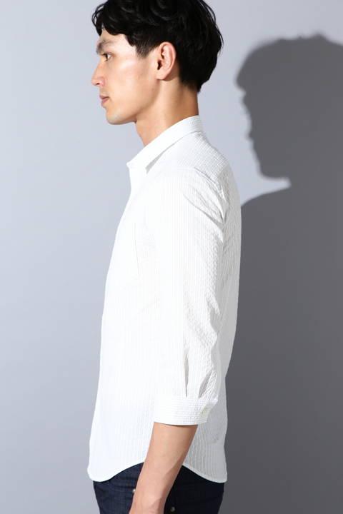 【ドラマ着用商品】ZERO by TORNADO MART∴サッカーピンストライプ7分袖シャツ