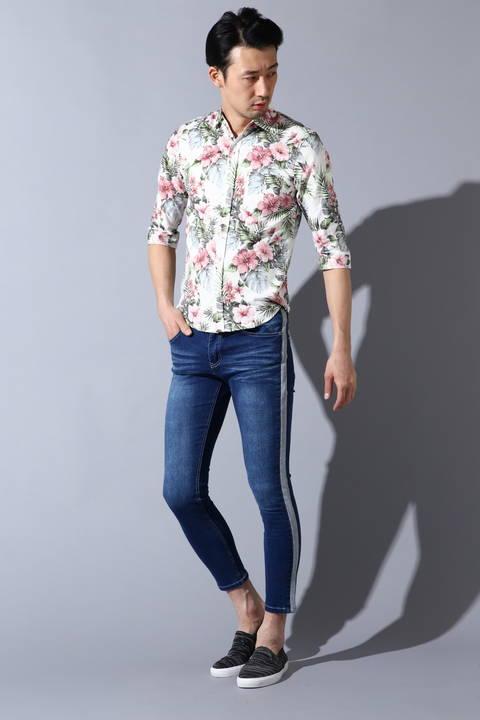 BLUE TORNADO∴裏使いボタニカル7分袖シャツ