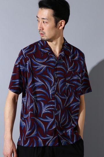 BLUE TORNADO∴リーフ柄オープンカラー半袖シャツ
