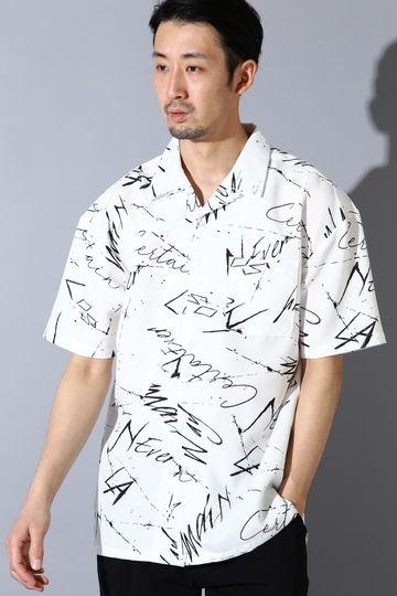 BLUE TORNADO∴グランジプリントオープンカラー半袖シャツ