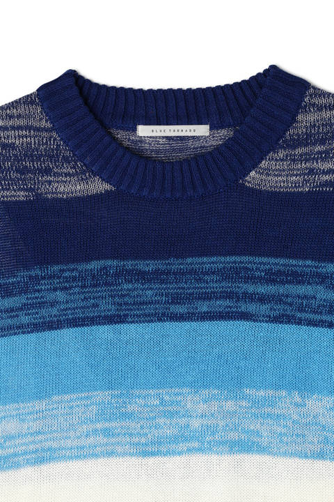 BLUE TORNADO∴C/Lマルチボーダークルーネックニット