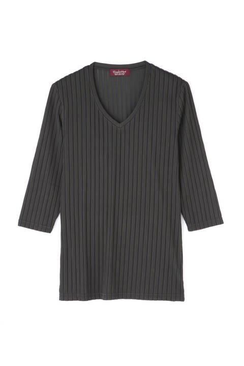 【ドラマ着用商品】TORNADO MART∴ワイドストライプ7分袖カットソー