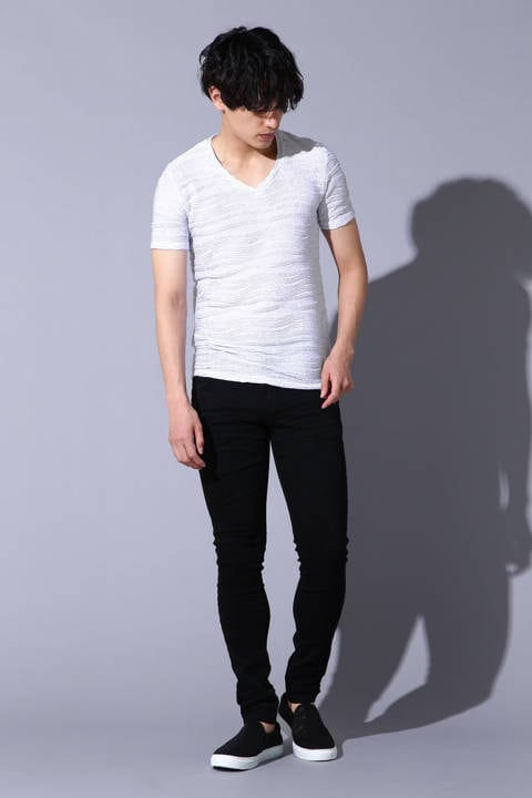 TORNADO MART∴格子ウェーブ半袖V