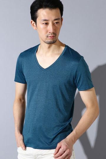 ZERO by TORNADO MART∴メランジベア天竺Vネック半袖カットソー