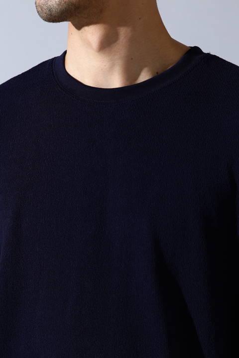 BLUE TORNADO∴ブロックインレイ5分袖クルー