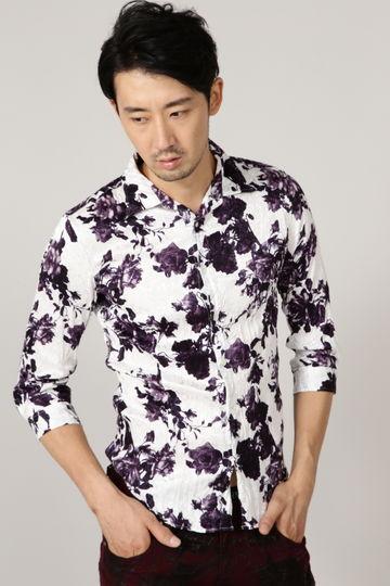 TORNADO MART∴フラワープリント7分袖シャツ