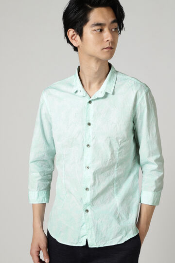 HIGH STREET∴ヤシ柄刺し子ジャガード7分袖シャツ