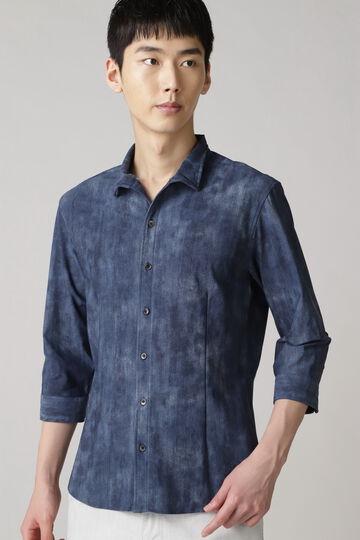 HIGH STREET∴デニムプリントオブロング7分袖シャツ
