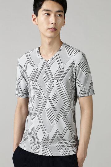 HIGH STREET∴幾何ベアジャガード半袖Vネック
